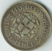 George VI, Silver (.500), Threepence 1943 (For Colonial Use), AVF, M8199